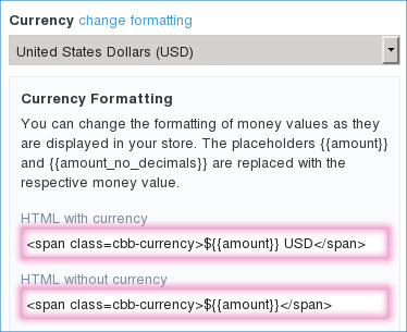 Currency formatting configuration